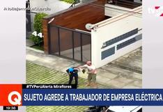 Miraflores: sujeto insultó y golpeó a trabajador de empresa eléctrica │VIDEO