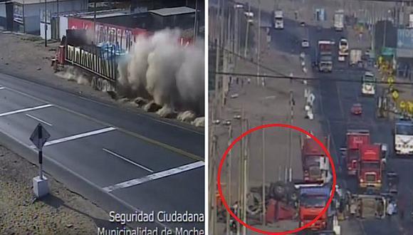 Tráiler fuera de control deja dos heridos en la Panamericana Norte en Trujillo | VIDEO