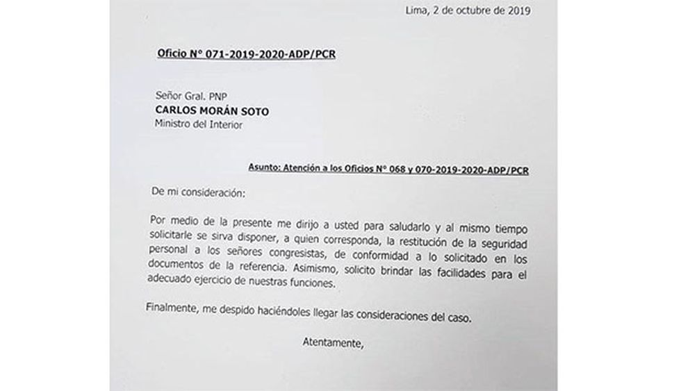 Este es el documento enviado por Olaechea al Ministerio del Interior. (Foto: Difusión)