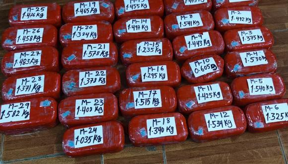 Huánuco: intervienen a dos sujetos con más de 40 kilos de alcaloide de cocaína (Foto: PNP)
