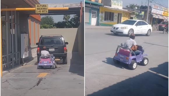 Un hombre intentó hacer su pedido a pie, pero los trabajadores no podían atenderlo a menos que fuera en carro. Usó su ingenio y volvió con un carrito de juguete. (Fotos: YouTube/Valentina Santi)