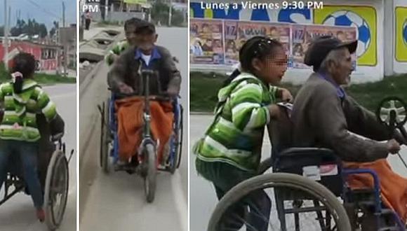 Niña ayuda a su abuelito a hacer trámite, empujando su silla de ruedas por kilómetros