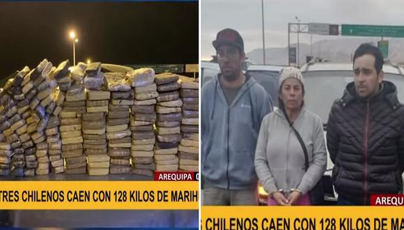 Arequipa: capturan a tres chilenos que intentaban trasladar 128 kilos de marihuana│VIDEO