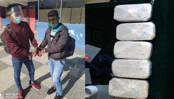 Arequipa: Agentes policiales detuvieron a Amador Cárdenas Félix (21) y su amigo Royyer Villegas Rojas (20), en el terminal terrestre de Arequipa con ocho kilos de pasta básica de cocaína escondidos en dos mochilas. (Foto PNP)