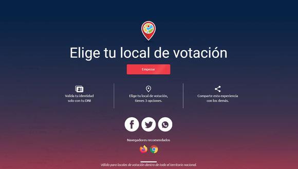 La aplicación web de la ONPE pide ingresar el número de DNI y un código que enviará a un número de celular.