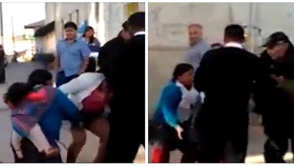 Facebook: no le importó nada y agarró a golpes a supuesta amante en plena calle (VIDEO)