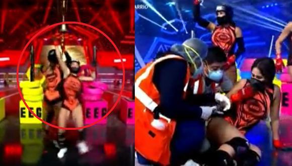 """Spheffany Loza termina en el piso tras competir con Karen Dejo en """"Esto es guerra"""". (Foto: Captura América TV)."""