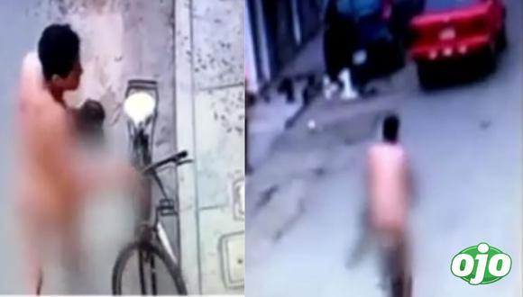 Hombre desnudo que robó bicicleta habría estado huyendo del esposo de su amante | VIDEO