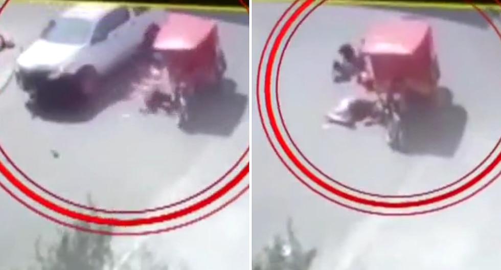 Camioneta atropella mototaxi llena de niños y se da a la fuga (VIDEO)