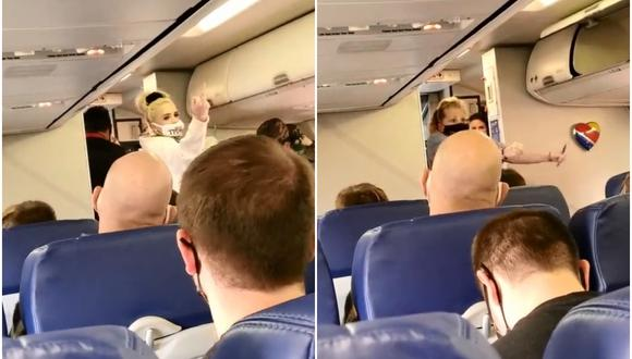 Aeromoza baila de alegría luego que pareja antimascarilla sea retirada del vuelo. (Foto: @b_edler56 / TikTok)