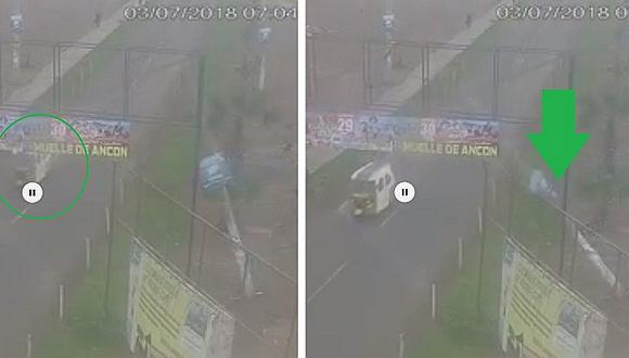 Mototaxista se salvó de 'milagro' de ser aplastado por poste de concreto (VÍDEO)