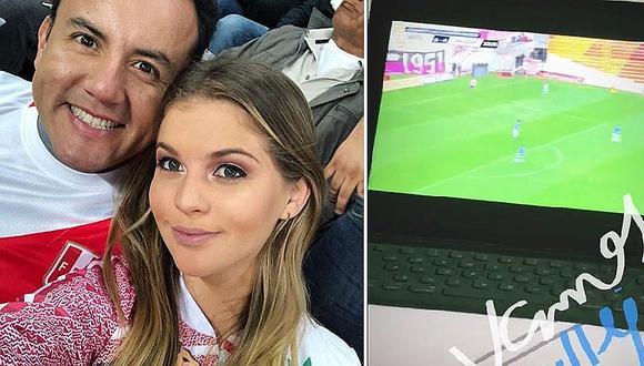 Brunella Horna no se perdió partido y ¡alentó al equipo de Richard Acuña! (VIDEO)