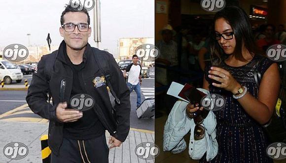 Christian Domínguez es captado en aeropuerto con su bailarina Isabel Acevedo (FOTOS)