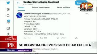 Se registra nuevo sismo de 4.8 en Lima