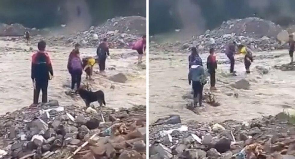 Estudiantes arriesgan sus vidas al cruzar río Cascasen para llegar a sus colegios (VIDEOS)