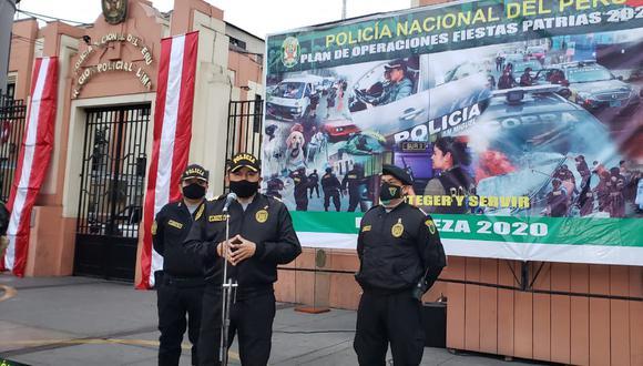 El jefe policial de Lima reiteró que más de 90 mil policías resguardarán el país durante las Fiestas Patrias. (Foto PNP)