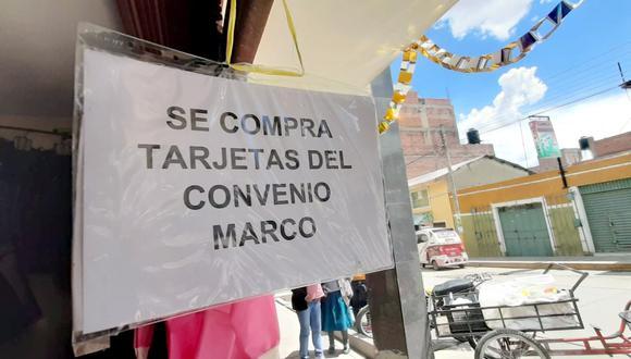 Cusco: pobladores de Espinar están vendiendo las tarjetas multiusos que entregó minera (Foto: Juan Sequeiros)