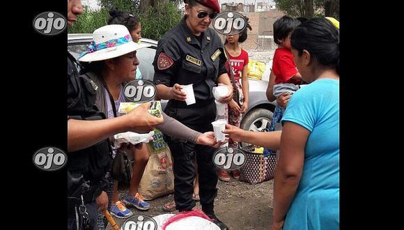 PNP lleva ayuda a damnificados de Carapongo