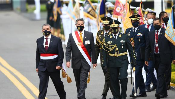 El presidente Francisco Sagasti participó en ceremonia por aniversario de la Policía Nacional. (Foto: Fernando Sangama/@photo.gec)
