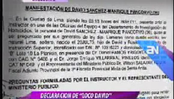 'Loco David' culpa al 'Negro Ampilio' de la muerte de Walter Oyarce