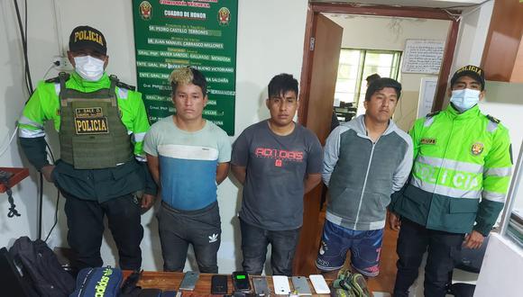 Los presuntos delincuentes fueron capturados por agentes de la comisaría de Vegueta. (Foto: PNP)