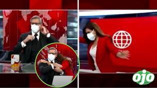 Verónica Linares corre y abraza a Federico Salazar antes de finalizar el noticiero