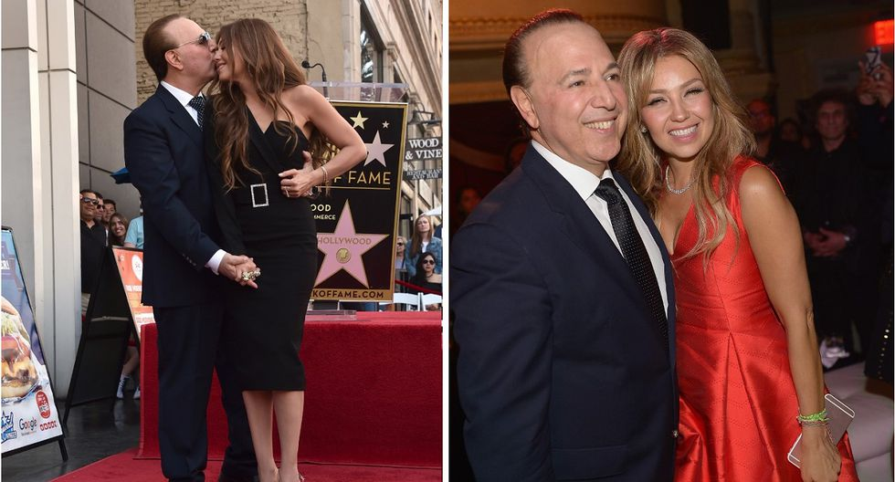 HOLLYWOOD, CALIFORNIA - OCTOBER 10: Tommy Mottola and Thalia attend ceremony honoring Tommy Mottola with the 2,676th star on the Hollywood Walk of Fame on October 10, 2019 in Hollywood, California.   Alberto E. Rodriguez/Getty Images/AFP