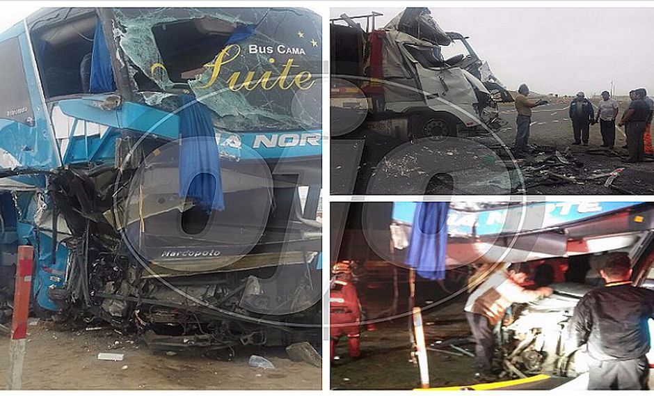 Supe: bus rumbo a Chiclayo choca contra tráiler y deja siete heridos (VIDEO)