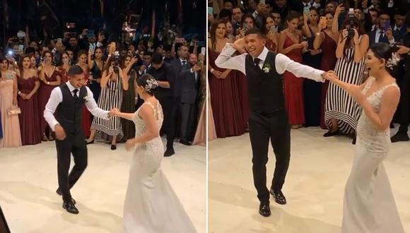 Edison Flores y Ana Siucho eralizan su primer baile como casados. (Foto: Captura de video)