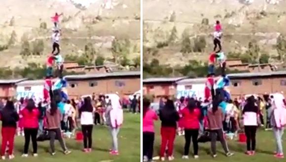 Terrible accidente se registra en fiesta patronal cuando hacían una pirámide humana (VIDEO)