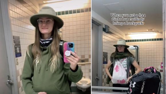 Mujer finge estar embarazada para colar una mochila adicional en un vuelo y no pagar la tarifa de equipaje. (Foto: @miniadventures / TikTok)