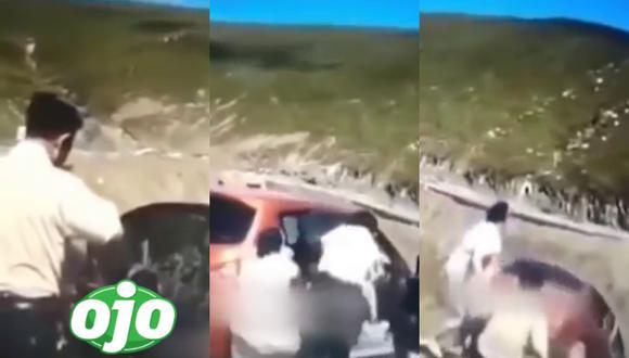 Un video viral muestra el preciso instante en que los ocupantes de un vehículo saltan antes que este se precipitara al vacío. | Crédito: Hesham Ahmad / YouTube