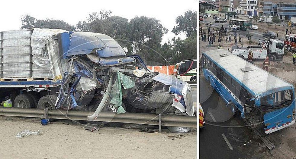 """Tráiler impacta contra bus de la empresa """"El chino"""" y ocasiona triple choque (FOTOS)"""