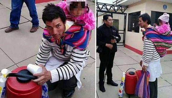 Papito se gana la vida vendiendo desayunos con su bebé en la espalda (FOTOS)