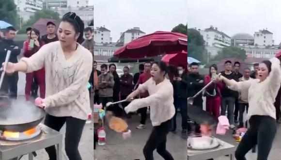 Mujer demuestra su habilidad para combinar la cocina con el baile en increíble video viral.   Crédito: @Hinder_Surprise / Twitter.