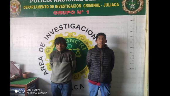 """Puno: Atrapan a dos ladrones de autopartes integrantes de la banda """"Los terribles del jirón Sandia"""", en Juliaca (Foto: PNP)"""