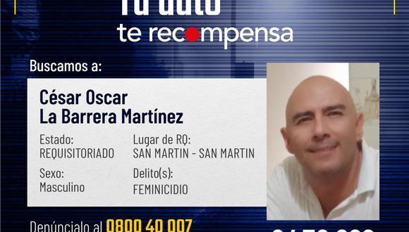 César Óscar La Barrera Martínez en la lista de los 'más buscados'.