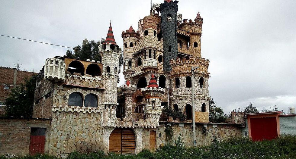 Exmilitar vuelve realidad  su sueño y construye un castillo en su casa en Huancayo