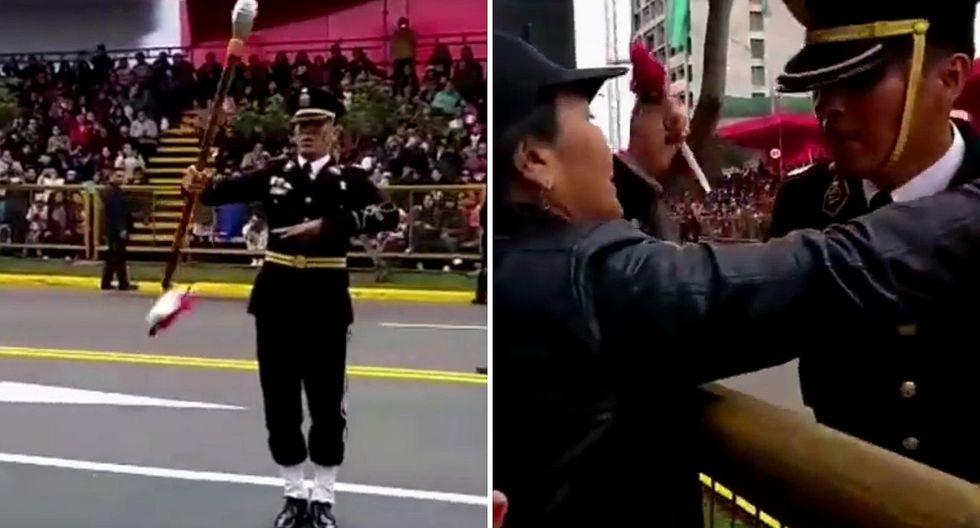 Policía tiene conmovedor gesto con su madre mientras desfilaba en la Parada Militar│VIDEO